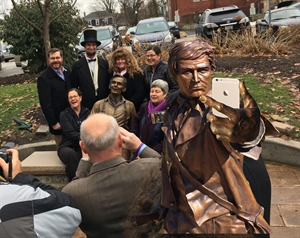 At the Laughing Lincoln Statue Dedication